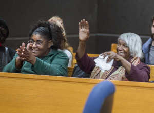 DAVID ZALAZNIK/JOURNAL STAR Cleve Heidelberg's sister, Mae Winston, right, and her daughter, Wanda Figgers, send wishes to Heidelberg at the end of the hearing Thursday at the Peoria County Courthouse. Heidelberg was granted progression to a third stage evidentiary hearing in his effort to overturn his decades-old murder conviction.