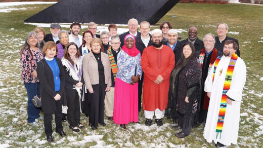"PHOTO SUPPLIED BY IMAM KAMIL MUFTI ""Know Islam, Know Peace"" is the theme of an interfaith communitywide discussion 6 to 8 p.m. March 7 at the Islamic Foundation of Peoria, 823 W. Salaam Drive. Religious leaders from throughout the city are working to build interfaith unity. Pictured here, front row left to right, Rev. Denise Clark-Jones, Rabbi Karen Bogard, Sister Rachel Bergschneider, Rev. Carole Hoke, Dr. Rahmat Na'Allah, Imam Kamil Mufti, Rev. Kaye Berry, Rev. Bill Dohle; second row left to right, Sally Wecker, Rev. Lynnda White, Amy Popp, Jean Sloan, Dr. Muhammad Jawad Javad, Dr. John Nixon, Rev. Michael Brown; third row left to right Betty Minor, John Minor, Rabbi Daniel Bogard, Rev. Forrest Krummel, Rev. Lauren Padgett, Tom Goelzer, Dr. Isaac Oliver, Rev. Marvin Hightower, Rev. Tom Taylor."