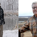 (left) Donald Hey hiked into his wetland to point out the riffle work he had constructed in the Des Plaines River in the background. (right) Bud Grieves can stand on his deck and observe his restored wetland stretching to the horizon.
