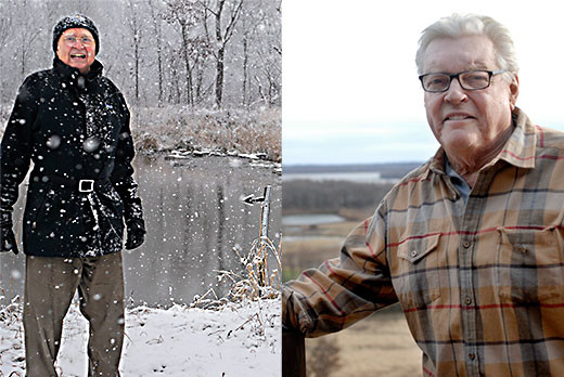 (left) Donald Hey hiked into his wetland to point out the riffle work he had constructed in the Des Plaines River in the background.