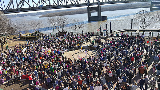 Overview of Peoria Women's Rally, one of about 600 sister marches held across the country Jan. 21 in support of women's rights and human rights.